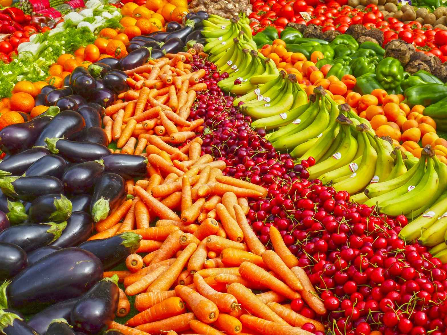 An abundance of fruits and vegetables